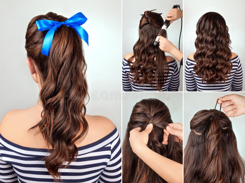 Hairstyle pony tail on curly hair tutorial stock image