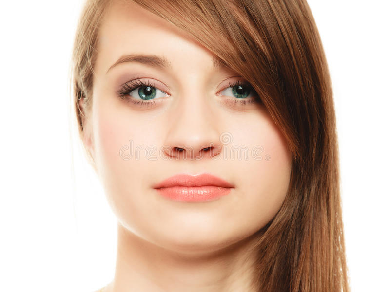 hairstyle Portret van meisje met lange klap die oog behandelen stock afbeeldingen
