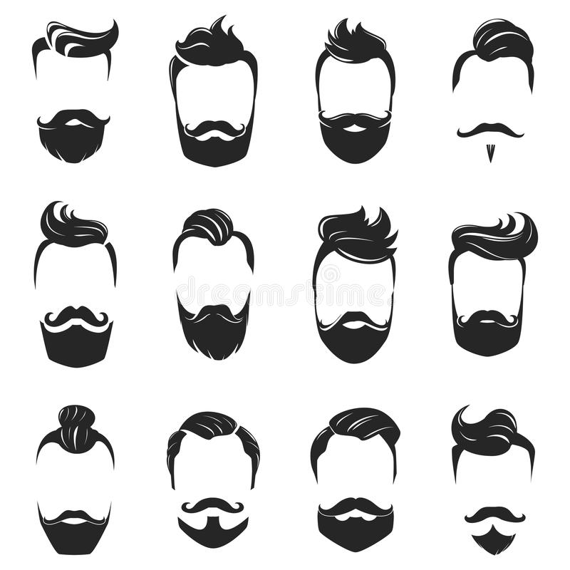 Hairstyles Beard And Hair Monochrome Set. Hipster fashionable beard moustache and hair styles monochrome set isolated on white background flat vector stock illustration