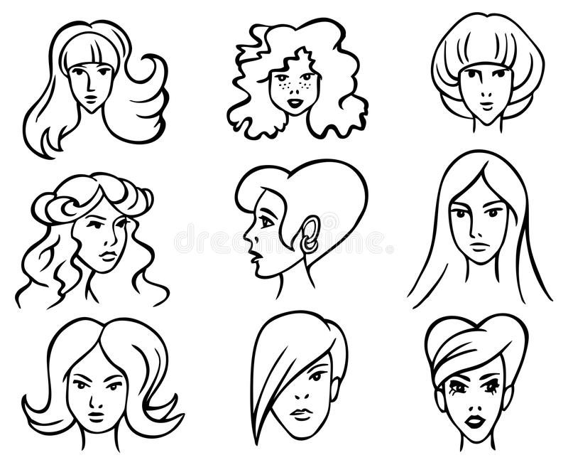Hairstyles Stock Vector Illustration Of Model Hairstyle - Different hair style drawing
