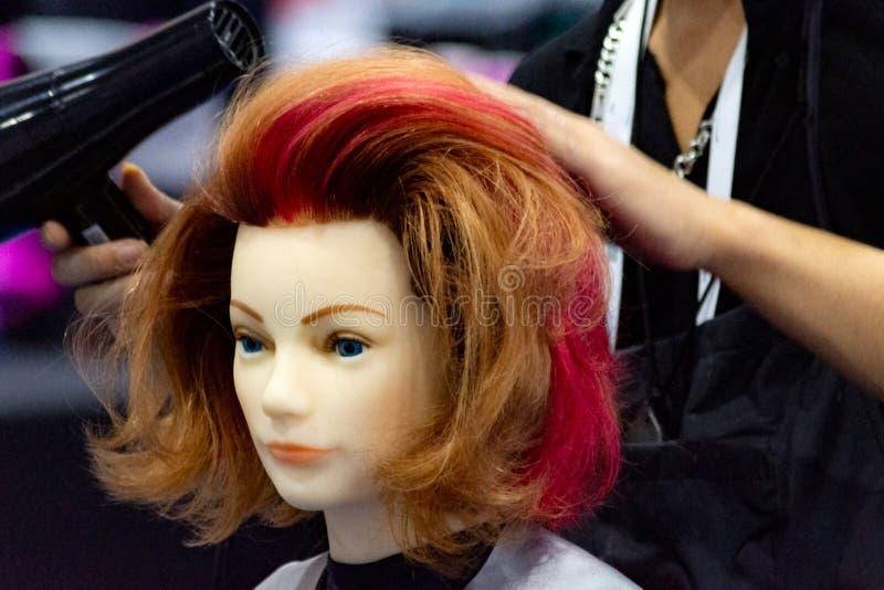 Hairstyles on dummy head of hair salon stock image