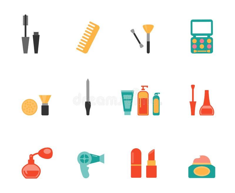 Hairstyling en make-up vlakke pictogrammen stock illustratie