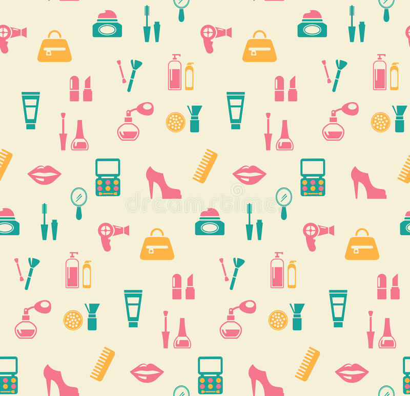 Hairstylingsmanier en make-up naadloos patroon stock illustratie