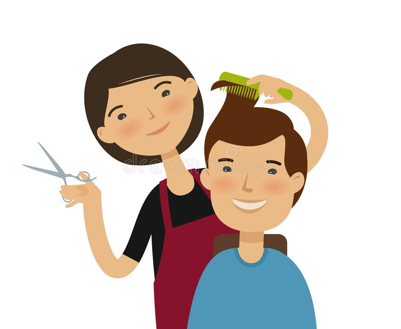Hairstylist cutting hair. Men`s hairstyle, beauty saloon concept. Funny cartoon vector illustration vector illustration