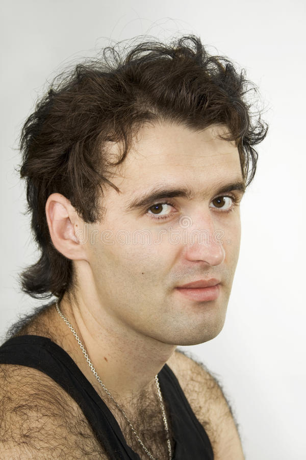 Hairy attractive man royalty free stock photography