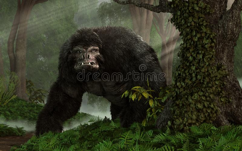 Hairy Beast. A huge hairy gorilla-like beast glares at you from a dense steamy jungle. IT gives you one mean look. 3D Rendering royalty free illustration