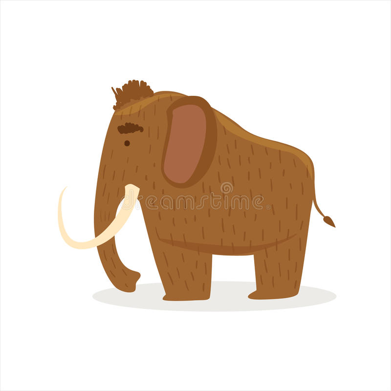 Hairy Brown Extinct Mammoth, Cartoon Ice Age Animal Illustration. Part Of Prehistoric Neanderthal Caveman And Their Historical Surroundings Collection Of royalty free illustration