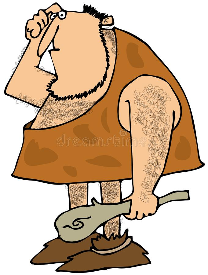 Hairy caveman with a club. This illustration depicts a hairy caveman with a puzzled expression and carrying a large wooden club vector illustration