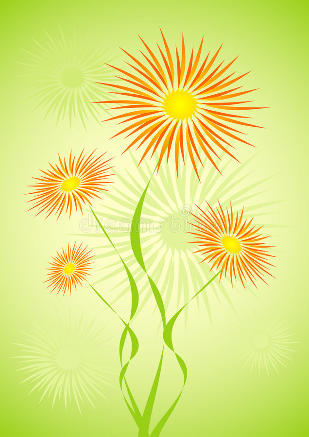 Hairy flowers. Illustration with green fresh background vector illustration