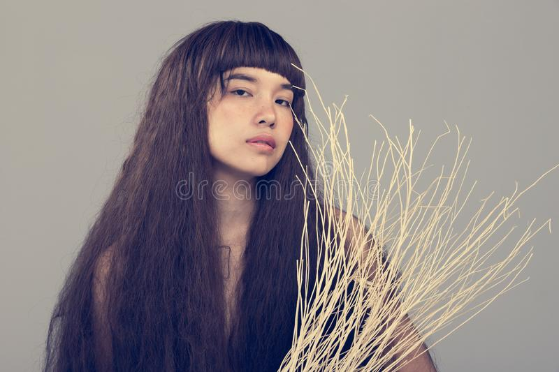 Hairy Girl portrait as lonely broken heart lady stock photography