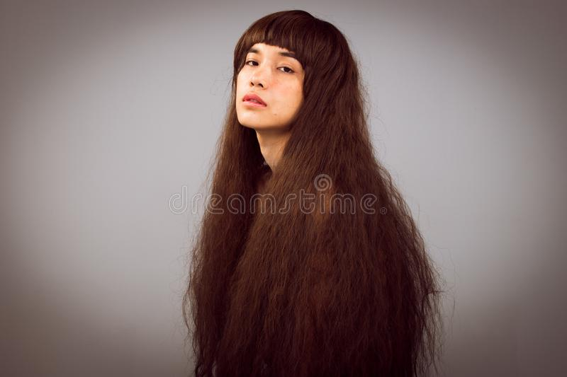 Hairy Girl portrait as lonely broken heart lady royalty free stock images