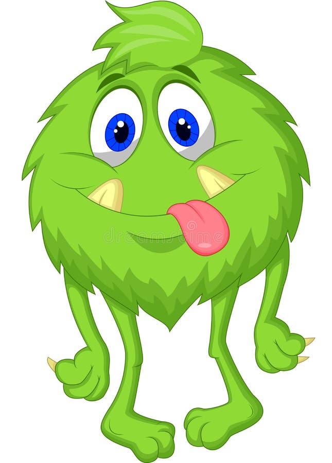Hairy green monster cartoon vector illustration