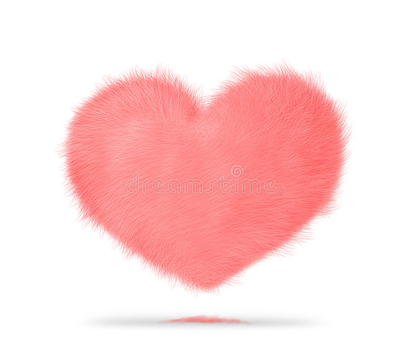 Hairy heart. Soft pink and hairy heart stock illustration