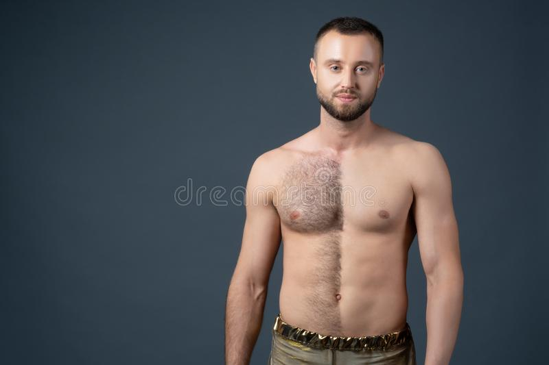 Hairy male chest shaved on one half. Unshaven man`s body. The man shaves his belly and breasts. Hairy male chest shaved on one half. Unshaven man`s body on dark stock photos