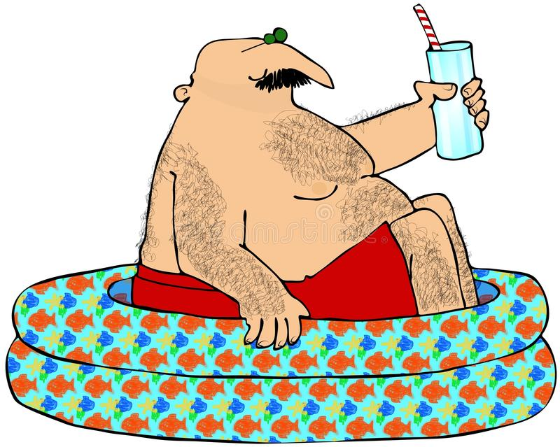 Hairy Man In A Kiddie Pool. This illustration depicts a hairy man sitting in a children's pool and holding a drink stock illustration