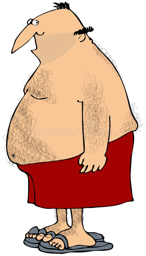 Download Hairy Man In A Swim Suit stock illustration. Illustration of cartoon - 8003847