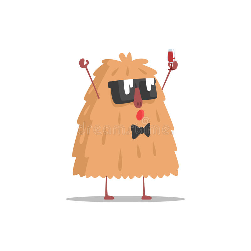 Hairy Monster In Dark Glasses Holding Glass Of Wine Partying Hard As A Guest At Glamorous Posh Party Vector Illustration. Part Of The Funny Alien Animal Cartoon stock illustration