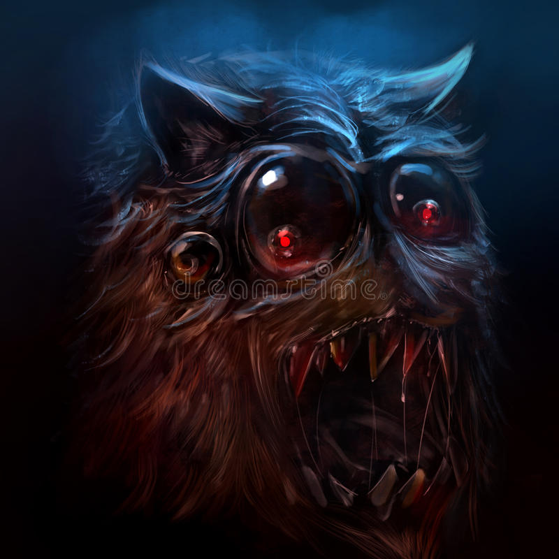 Hairy monster illustration. Scary drawn hairy monster face with sharpened & bloody teeth illustration vector illustration