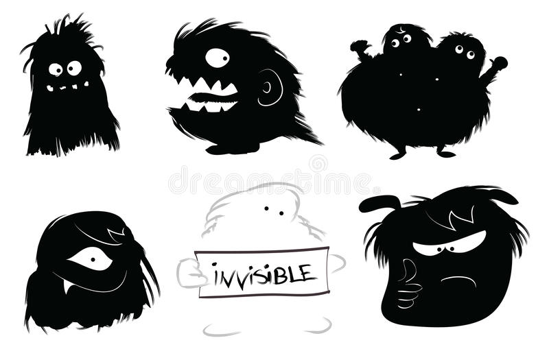 Hairy monsters icons. Hairy monsters on a white background illustration stock illustration