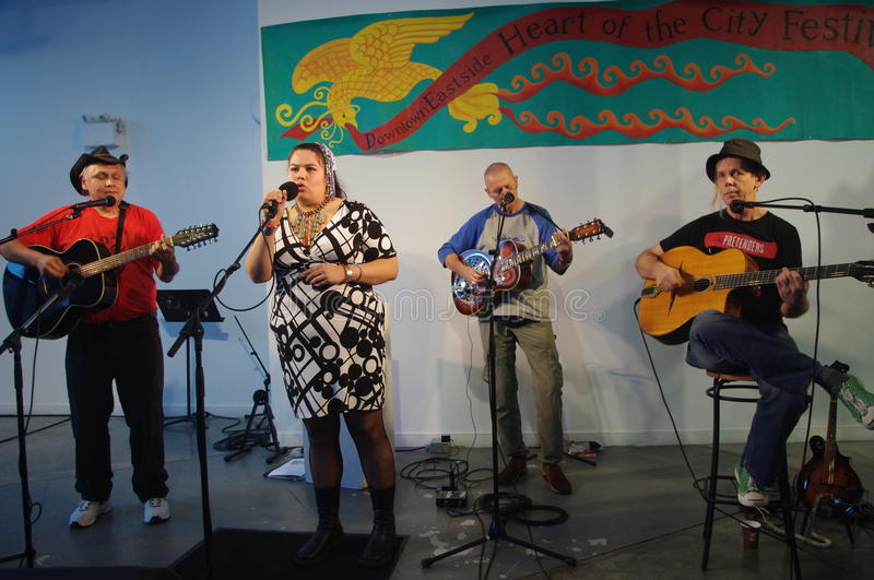 Haisla Collins with her blues and roots band royalty free stock photo