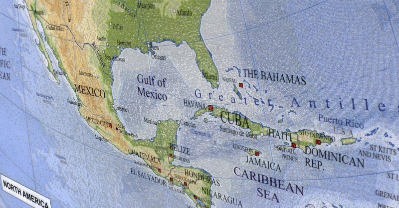 Haiti, Cuba, Caribbean map, Mexico travel royalty free stock photos