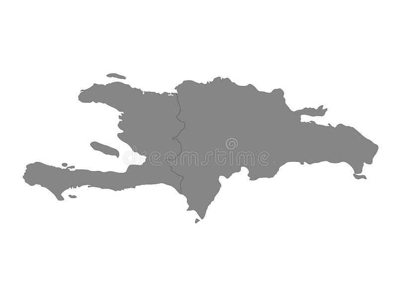 Haiti and Dominican Republic map - island country in the Greater Antilles archipelago of the Caribbean region. Vector file of Haiti and Dominican Republic map vector illustration