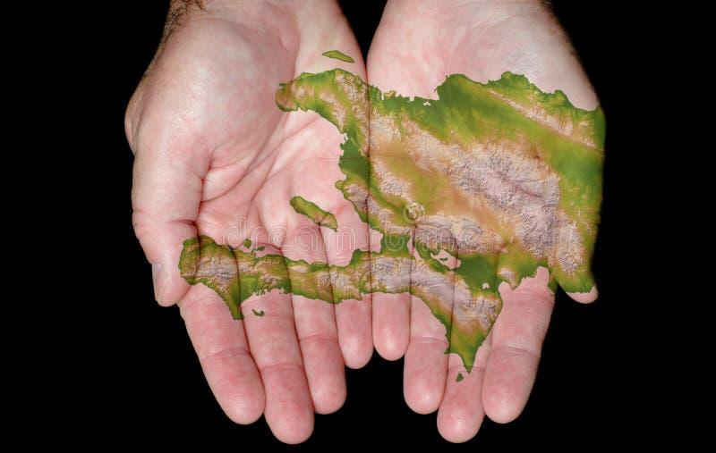 Haiti em nossas mãos imagem de stock royalty free