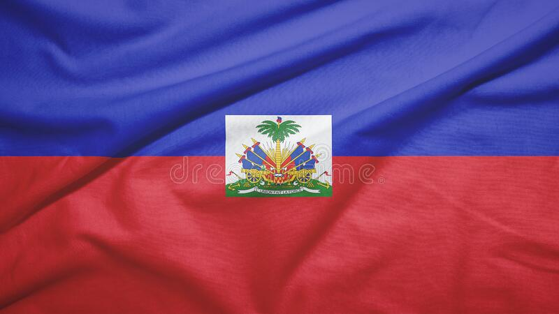 Haiti flag with fabric texture. Haiti waving flag on the fabric texture royalty free stock photography