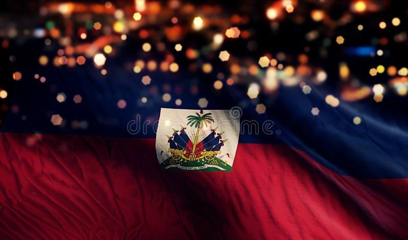 Haiti flaga państowowa światła nocy Bokeh abstrakta tło obraz royalty free