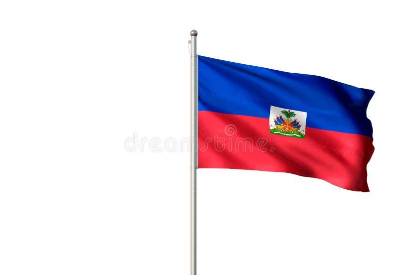 Haiti flaga państowowa falowanie odizolowywał białego tła realistyczną 3d ilustrację royalty ilustracja
