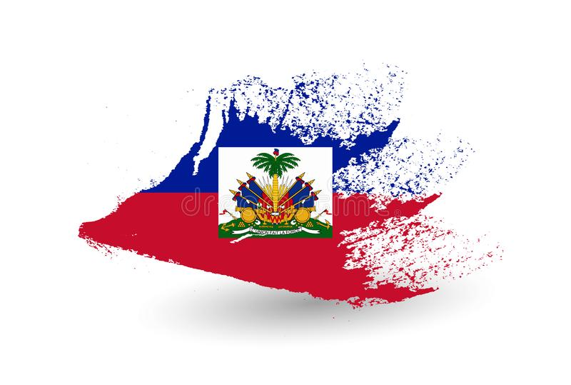 Haiti flagga Hand dragen stil royaltyfri illustrationer