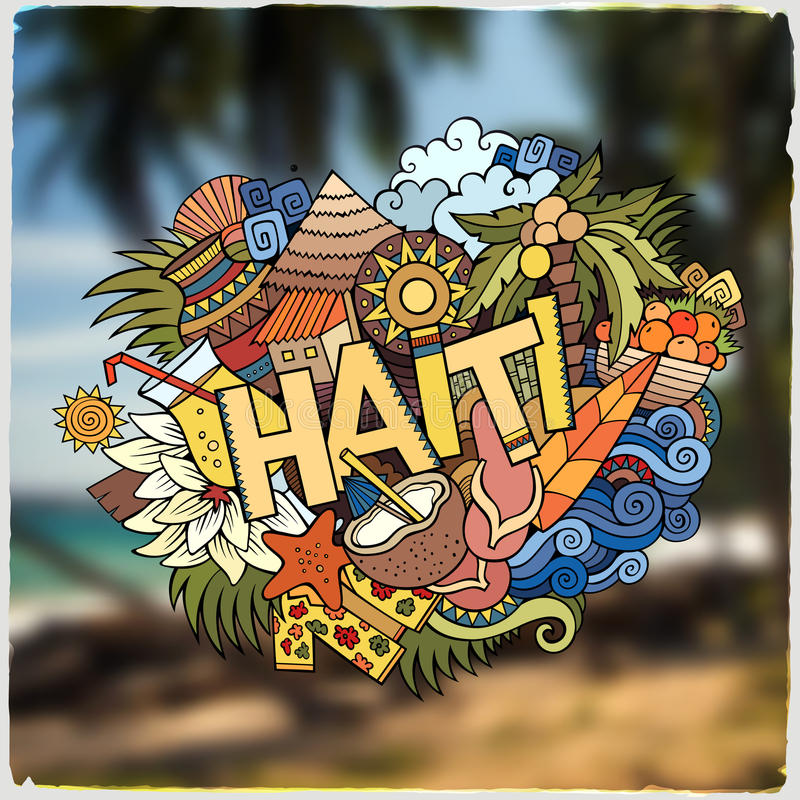 Haiti Hand Lettering And Doodles Elements Emblem Stock Vector