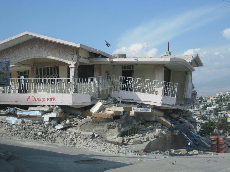 Haiti home destroyed stock photo