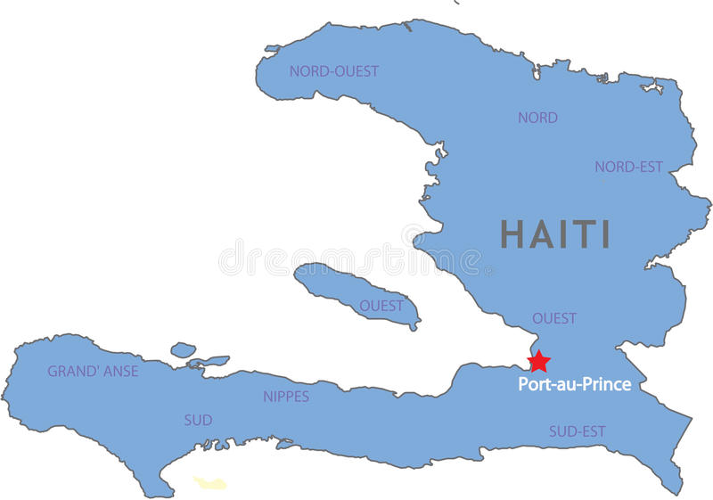 Haiti map. Showing zones and capital