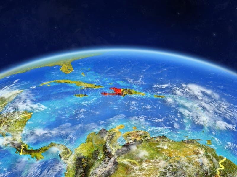 Haiti på jord från utrymme arkivfoton