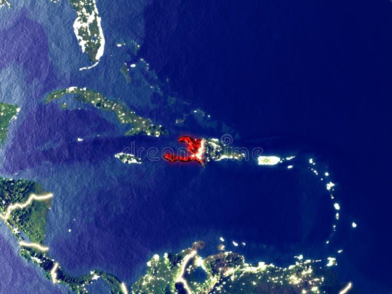 Haiti på jord på natten royaltyfri foto