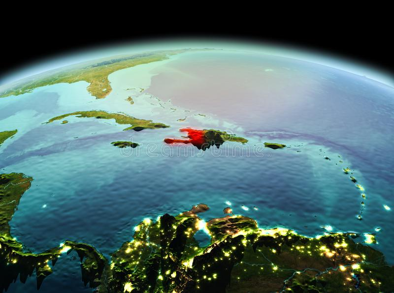 Haiti on planet Earth in space. Morning above Haiti highlighted in red on model of planet Earth in space. 3D illustration. Elements of this image furnished by royalty free stock photo