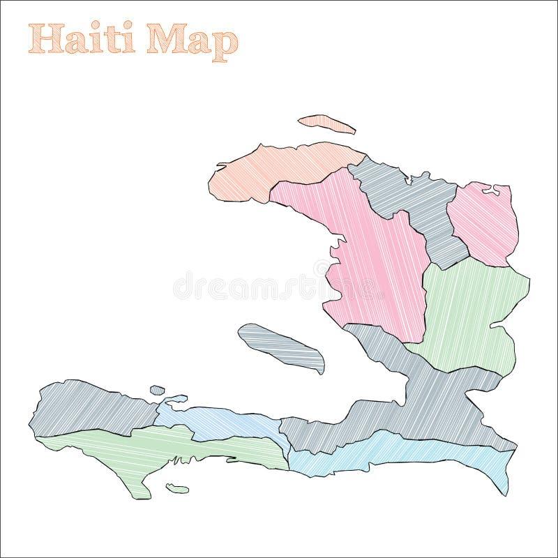 Haiti pociągany ręcznie mapa ilustracji