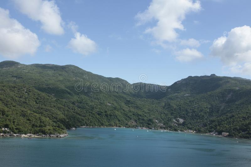 Haiti`s dreams neuter sea, forest & lovely people. Haiti`s Cap-Haitien port is the main island area that gives anyone the feal of silent peaceful range in Haiti stock photo