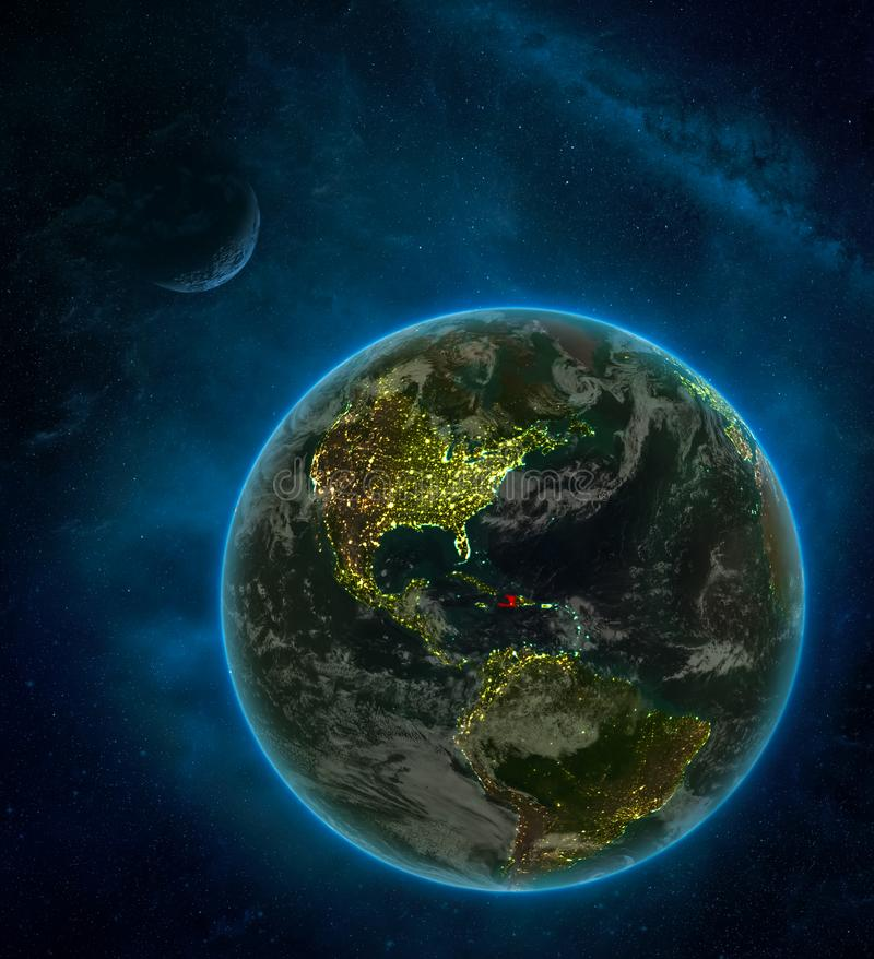 Haiti from space on Earth at night surrounded by space with Moon and Milky Way. Detailed planet with city lights and clouds. 3D. Illustration. Elements of this stock illustration