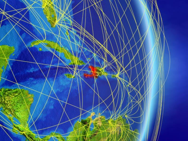Haiti sul pianeta Terra del pianeta con la rete Concetto di connettività, del viaggio e della comunicazione illustrazione 3D Elem royalty illustrazione gratis