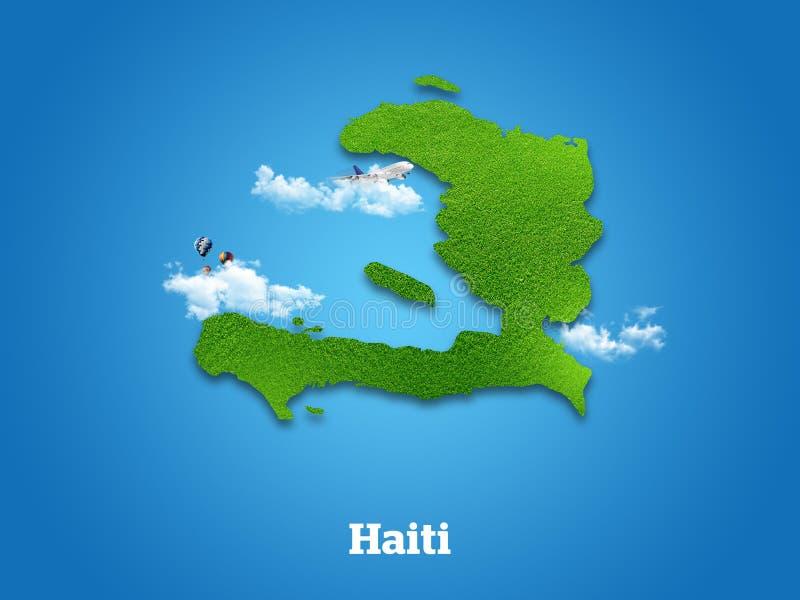 Haiti ?versikt Grönt gräs, himmel och molnigt begrepp arkivfoto