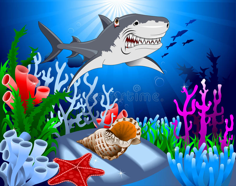 Haj i havet vektor illustrationer