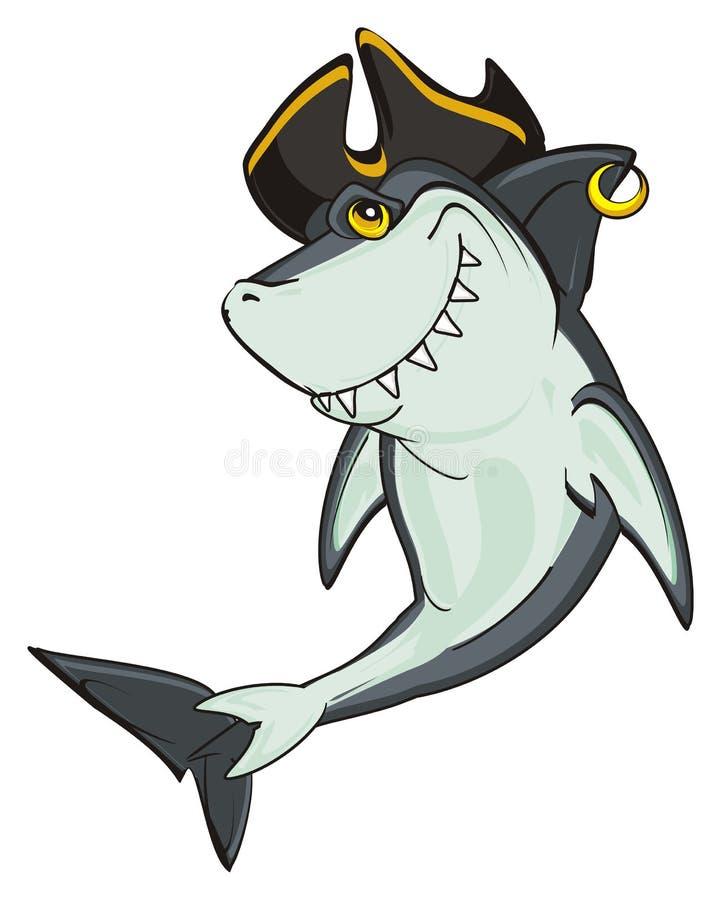 Haj i svart hatt royaltyfri illustrationer