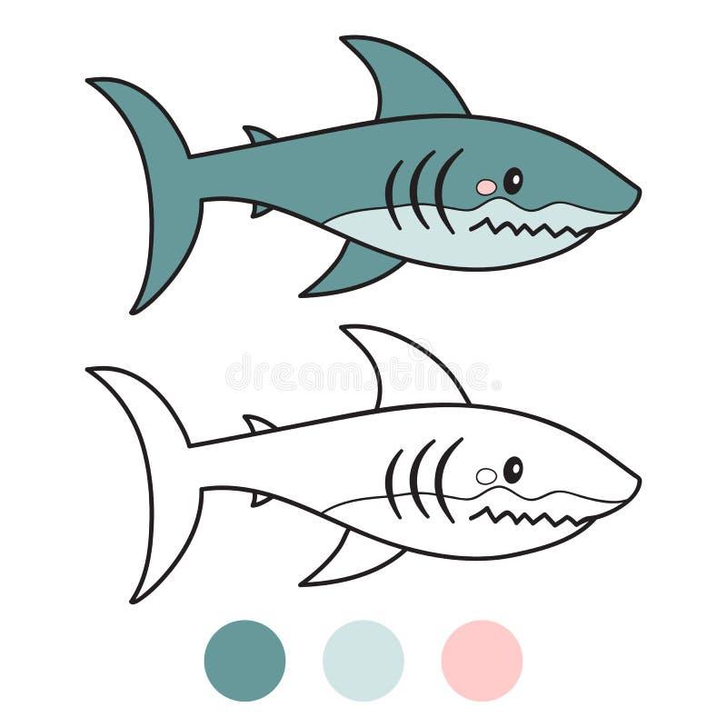 haj Sida för färgläggningbok den främmande tecknad filmkatten flyr illustrationtakvektorn royaltyfri illustrationer