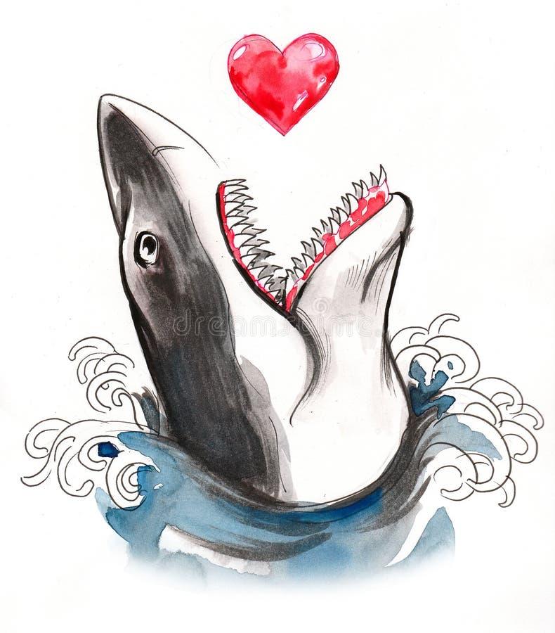 Haj som äter en hjärta royaltyfri illustrationer