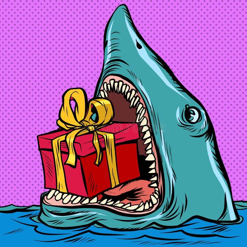 Hajar med en presentlåda Holiday shopping jul Alla dagar på dagen royaltyfri illustrationer