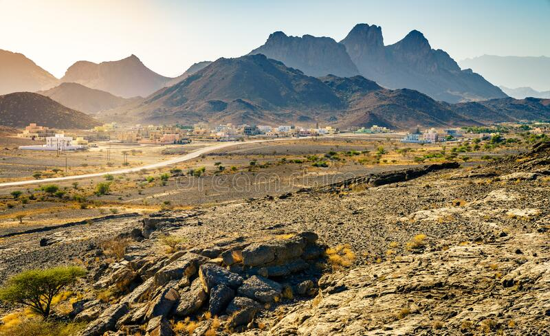 Hajar Mountains in Oman stock photo