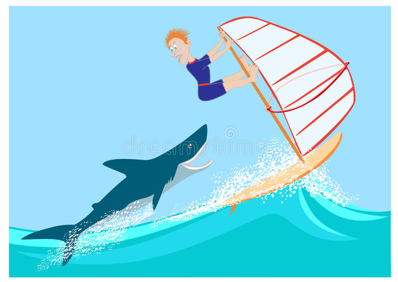Hajen förföljer vindsurfaren vektor illustrationer