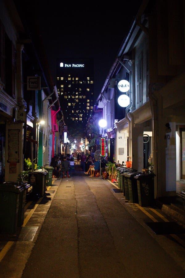 Haji Lane bij Nacht stock afbeeldingen